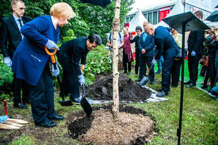Extraordinary and Plenipotentiary Ambassador of the People's Republic of China to the Russian Federation Li Hui planted a tree in Sokolniki Park